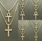 MENS ICED OUT EGYPTIAN ANKH CROSS (KEY OF LIFE) PENDANT BOX CHAIN NECKLACE SET