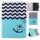 New Wave Lines with Anchor Pattern Flip Stand Cover PU Case For iPad air 2/Mini