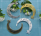 5/20/100pcs Antique Silver Beautiful Moon Jewelry Finding Charm pendant 41x30mm