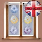 Modern bathroom / kitchen floral window net curtain PANEL ready to hang WHITE