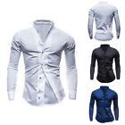 Men Solid Long Sleeve Slim-fit Stand Collar Button Down Casual Dress Shirt