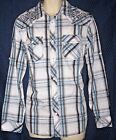 NEW Mens L Blue Helix ATHLETIC FIT Western Shirt Embroidery Long Sleeve Cotton B