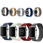 Magnetic Milanese Genuine Leather Loop Watchband Strap Bracelet For Apple Watch