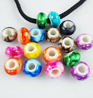 Acrylic Round Mixed color European Charm Charm Loose Spacer Beads 15x9mm