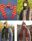 Fair Trade wool Scarf, lined Hat & glove pocket all in one beanie snood muffler