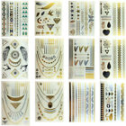 Gold/Silver Temporary Metallic Tattoos Incl Bracelets, Necklaces & Symbols
