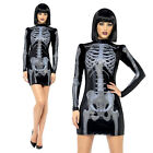 Sexy Skeleton Costume Wet Look Womens Halloween Fancy Dress Sizes 4-18 NEW