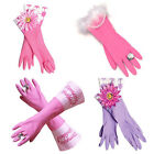 Pink FLOWER DOMESTIC GODDESS DIAMANTE RING Rubber Gloves Girly Marigolds Gift