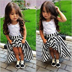 Children Baby Girls Princess Party Dress Lace Flower Stripe Gown Dress 2-7Y