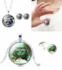 SCHMUCKSET GRINSEKATZE CHESHIRE CAT HALSKETTE OHRRINGE ALICE ROCKABILLY MOTIV