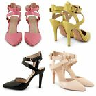 WOMENS LADIES POINTED TOE SANDALS ANKLE STRAPPY HIGH HEEL STILETTO COURT SHOES