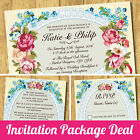 Package Deal: Wedding Invitation, RSVP Card & Gift Poem Card *Roses Lace Blue