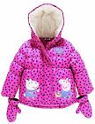 Peppa Pig Girls Baby Pink Puffa Coat With Mittens Coat 18-24 Mths 2 3 4 5 Years