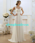 New Stock White/Ivory Applique Chiffon Wedding Dress Bridal Gown US Size 4-22
