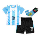 3 piece Argentina #10 Messi Home Kids Soccer Jersey & Shorts & Long Socks
