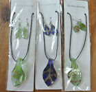 Job Lot - Striking and Unusual Glass Necklaces on Cord with Matching Earrings