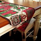 6ft Tapestry Fabric Holiday Table Runner 13x72 Snowman Poinsettia Christmas Tree