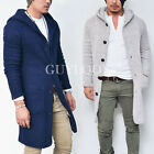 Tweed Waffle Knit Mens Long Button Up Hooded Cardigan Jacket Light Ver Guylook