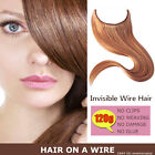 Clips Human Hair Extension Invisible Hidden Wire Flip Weft In 120g 22inch