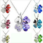 Silver Happiness Clover Leaf Crystal Pendant Chain Necklace Valentine Gift SHAC#