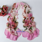 Hot New Style Women's Soft Wrap Ink Painting Flowers Chiffon Scarf 16 colours