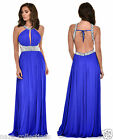 BLUE CRYSTAL DIAMANTE KEYHOLE CUT OUT BACKLESS GRECIAN MAXI GOWN LONG DRESS 8-18