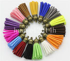 New 10pcs Suede Leather Tassel Keychain Cellphone Straps Jewelry Charms 40mm