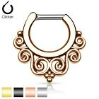 New Surgical Steel Tribal Swirl Nose Septum Ring Clicker 16g 14g Gold Silver