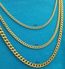 "18""-30"" 24k Gold Plated Men Women Stainless Steel Cuban Link Chain Necklace3-5mm"