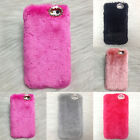 Fab Luxury Soft Rex Faux Rabbit Fluffy Fur Skin Cover Case For iPhone 6/5 5S