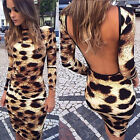 Sexy Women Long Sleeve Casual Backless Cocktail Party Short Slim Dress FKS