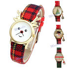 Christmas Series Xmas Tree Santa Claus Beads Canvas PU Leather Quartz Watch Gift