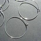 50 & 100  SILVER PLATED WINE GLASS CHARM HOOP PENDANT RING 35-40mm DIAMETER