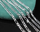 Fashion 925 Sterling Silver Chain Men Italy Figaro Necklace 16-30 Inch Ca