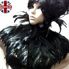 HALLOWEEN GOTH FEATHER CAPE SHRUG SHOULDER WRAP BLACK PURPLE RED COLLAR JACKET