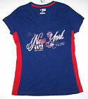 Nwt New York Giants ny Football NFL Top Shirt Tee Blue Hologram Glitter Women