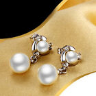 Charming 925 Sterling Silver Earrings Imported Double Ball Diamond Pearl