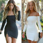 New Women Sexy Off The Shoulder Long Sleeve Bodycon Mini Dress Party Club Dress