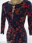 New M&S Teal Red Abstract Bodycon Dress Size 8 Shift Party Spring Summer
