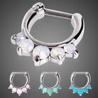 New Surgical Steel Opalite Stone Princess Nose Septum Clicker Ring 16g 14g