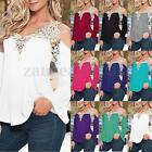 Women Loose Casual Long Sleeve Sexy Lace Shirt Tops Blouse Ladies Tee Top 8-24