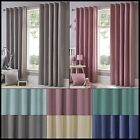 Sorbet Lined Eyelet Curtains Ready Made One Pair Plain Pastel Cotton Ring Top