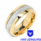 8mm Mens & Womens Tungsten Carbide Ring Meteorite Inlay Wedding Band Size 5-16