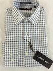 NWT Men's Michael Kors Long Sleeve Button Up White Blue Checkered Shirts 16R-18R