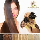 "20"" Indian Remy Hair I tips micro beads Extension Double Drawn #4 Chestnut Brown"