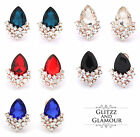 WOMENS CLIP ON DIAMANTE CRYSTAL STUD EARRINGS WEDDING PARTY LOTS OF COLOURS