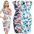 Womens Vintage 50's Pin up Dress FLORAL Evening Party Wiggle Pencil Dress 4-18