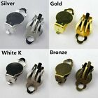 20pcs Flat Pad Clip On Earring Finding Jewelry DIY Silver,Gold,White K,Bronze