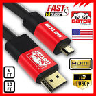 Micro HDMI to HDMI Cable Adapter Converter 4K GoPro 4 5 HERO 3 HTC EVO 4G 120Hz <br/> 6FT 10FT High Speed Micro HDMI 4K 1080P 120Hz 10.2Gbps