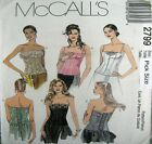 McCalls Sewing Pattern 2799 Corset Bodice Bustier Strapless Top Choose Size